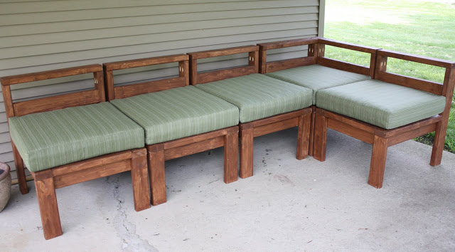 2×4 Wood Slat Outdoor Sectional