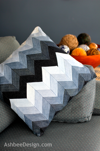 Chevron Denim Pillow