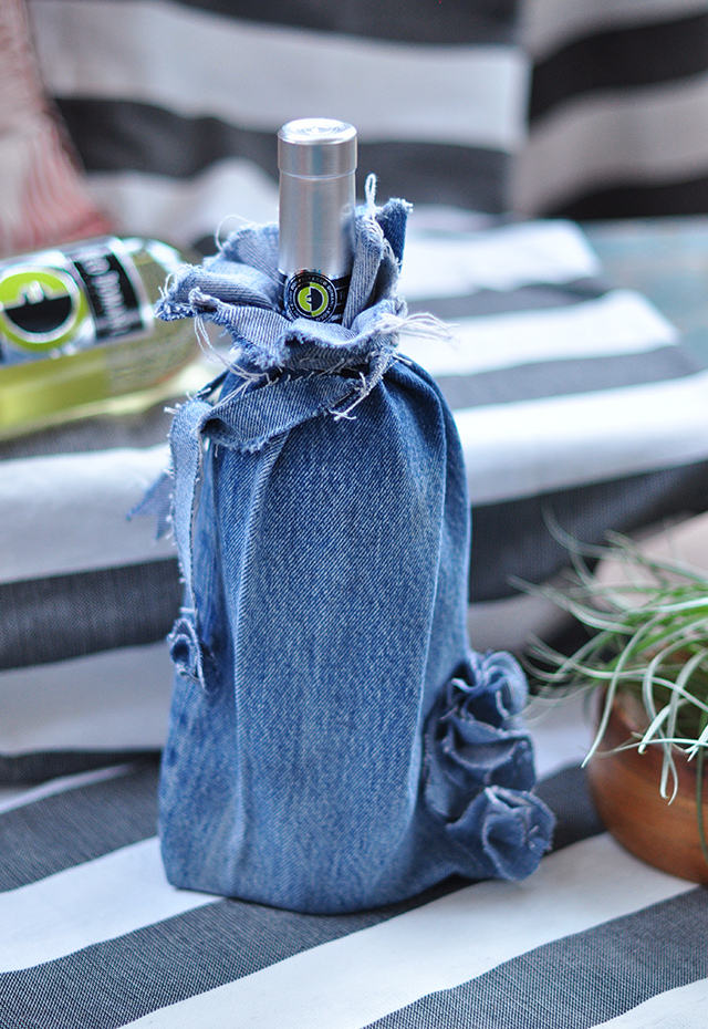 Denim Wine Gift Bag