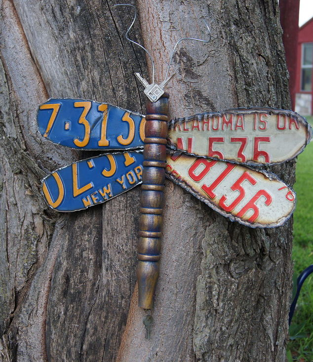 Dragonfly Made From Discarded License Plates