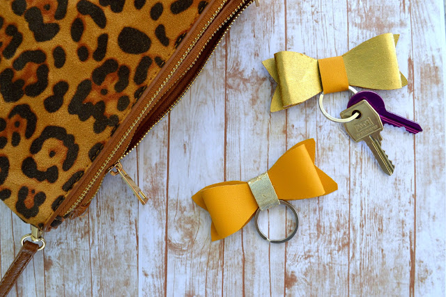 Faux Leather Bow Keychain