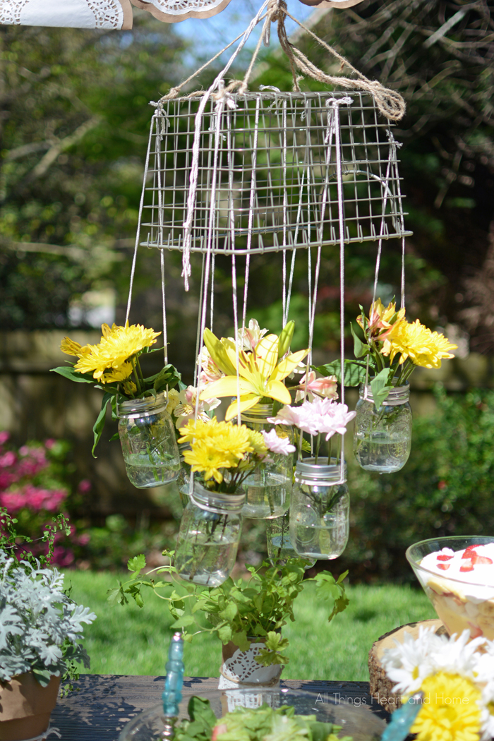 Hanging Mason Jar Flower Chandelier