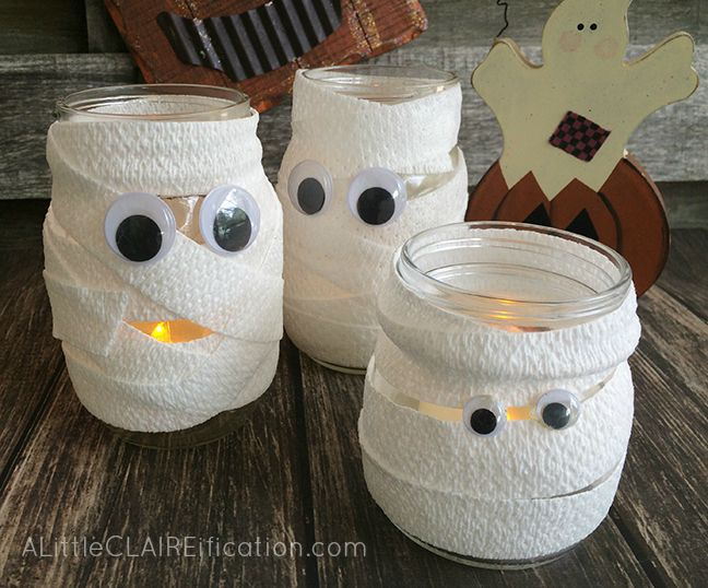 Mason Jar Mummy Luminaries