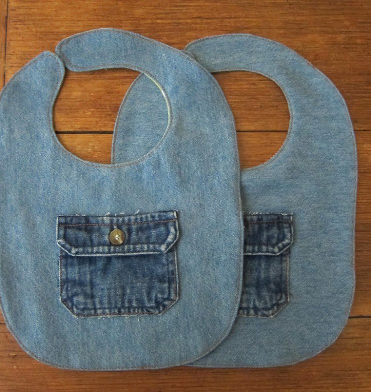 Old Denim Baby Bibs