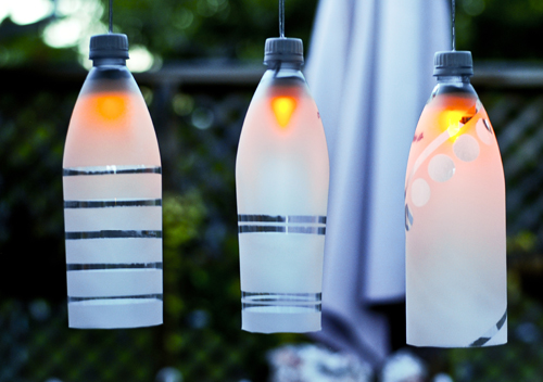 Outdoor Party Lights out of Old Bottles