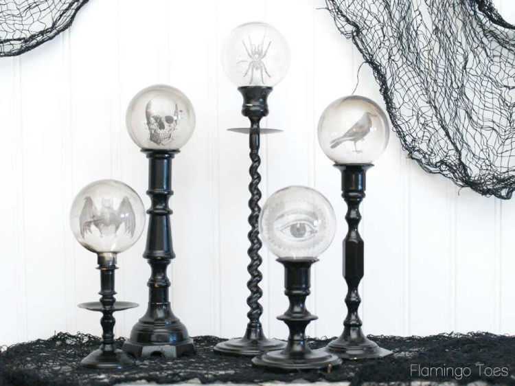 Spooky Crystal Ball Candle Sticks