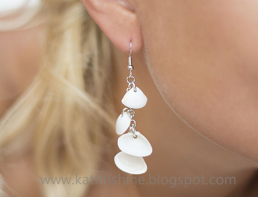 Use tiny shells to make pretty earrings