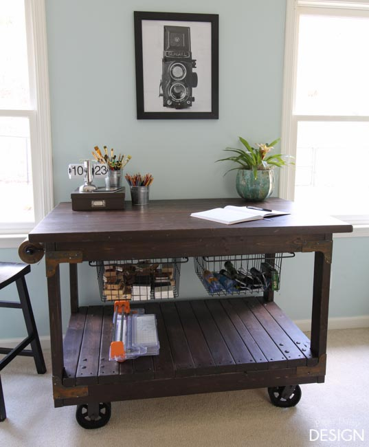 Vintage Industrial Cart Inspired Craft Table
