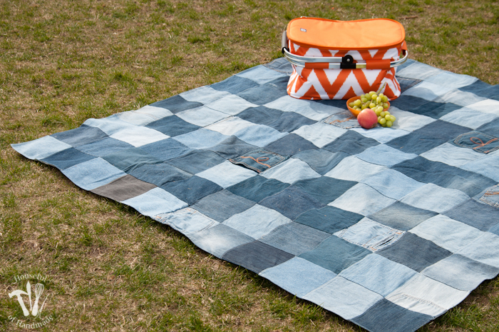 Water-Resistant Upcycled Jeans Picnic Blanket