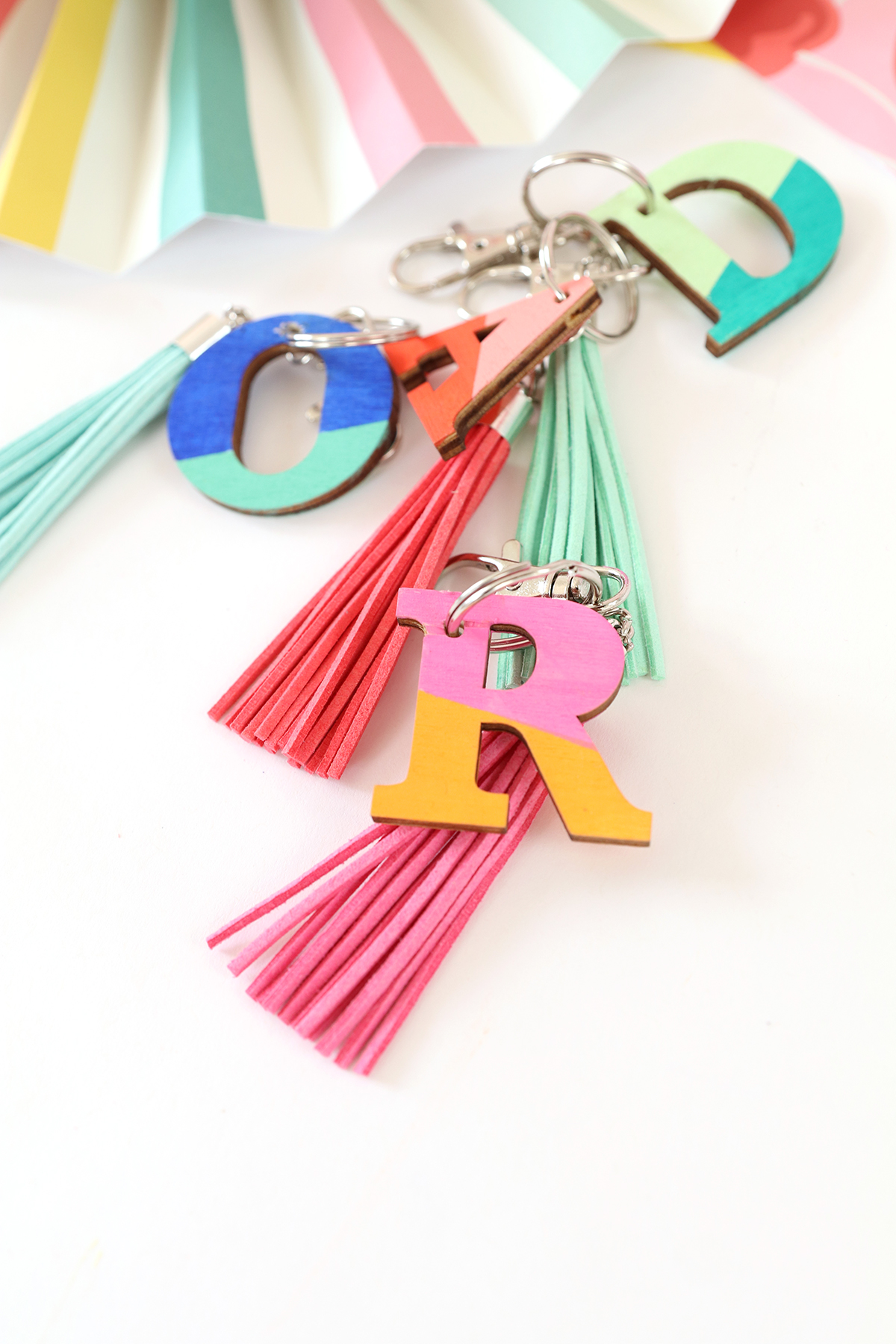 Wood Monogram Keychains