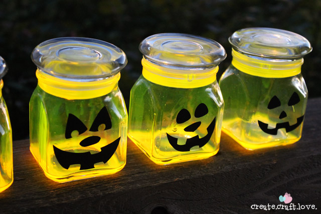 Glow in the Dark Pumpkin Jars