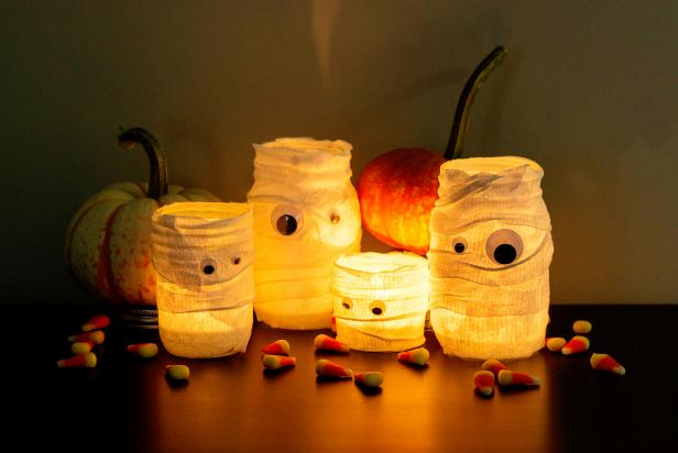 Canning Jar Mummy Luminaries
