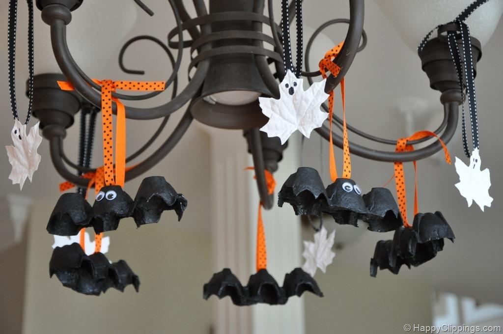 Halloween Egg Carton Bats and Leaf Ghosts