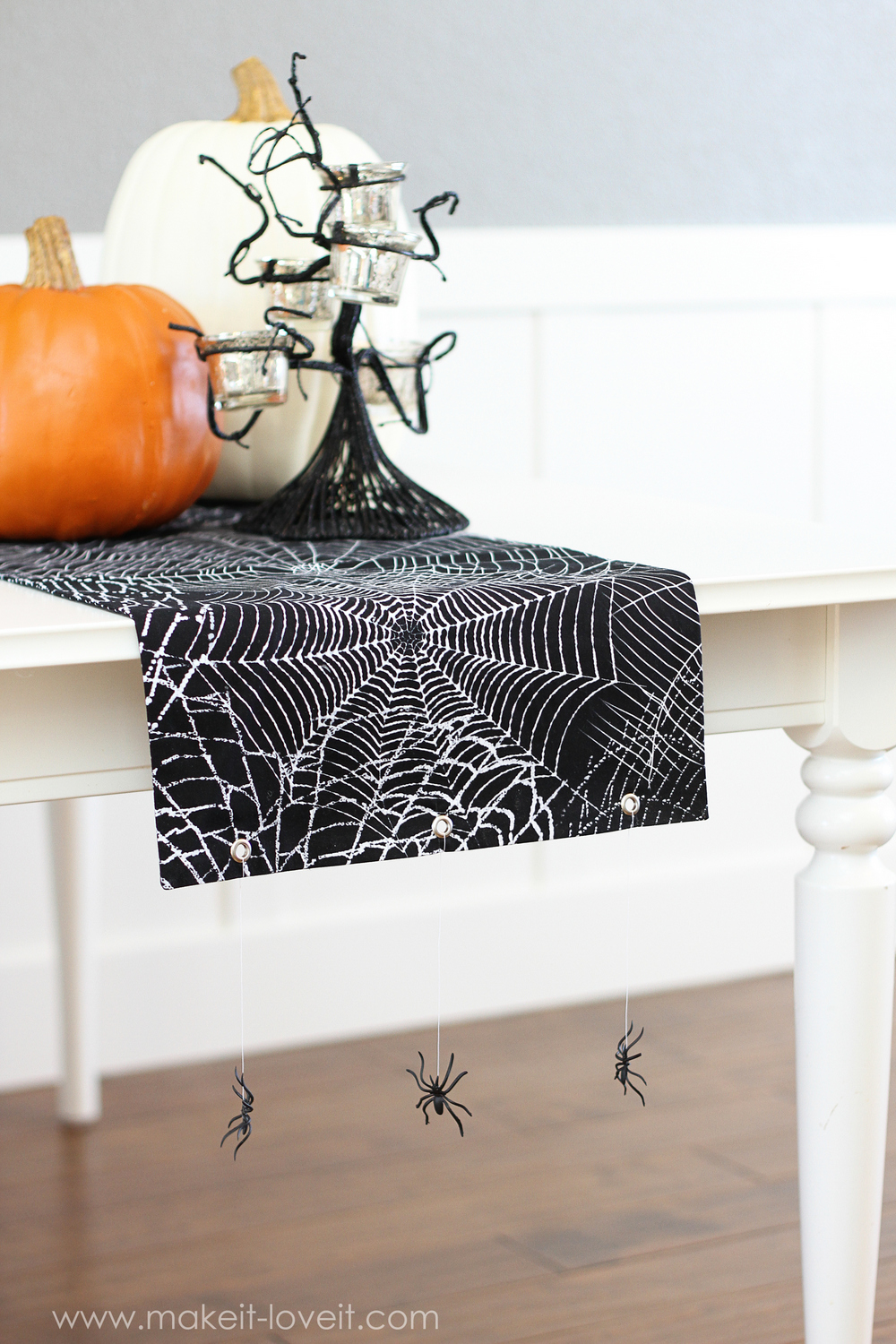 Halloween Table Runner with Hanging Spiders