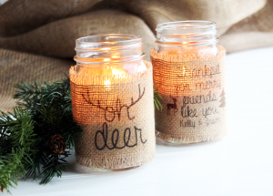 Burlap Mason Jar Candle Holders