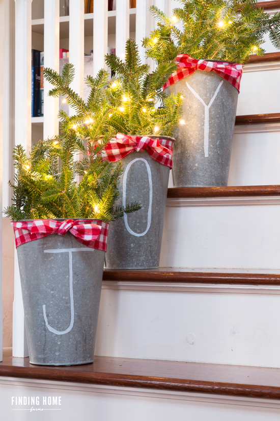 The best do it yourself christmas decorations chalk pen galvanized buckets diy solutioingenieria Choice Image