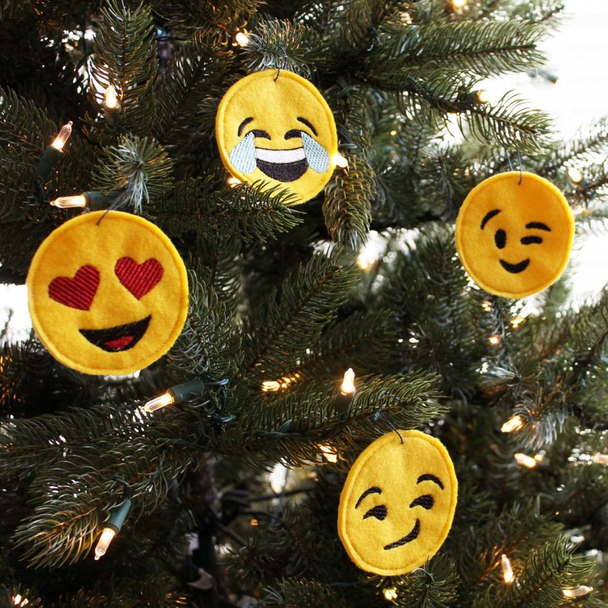 Embroidered Emoji Ornaments
