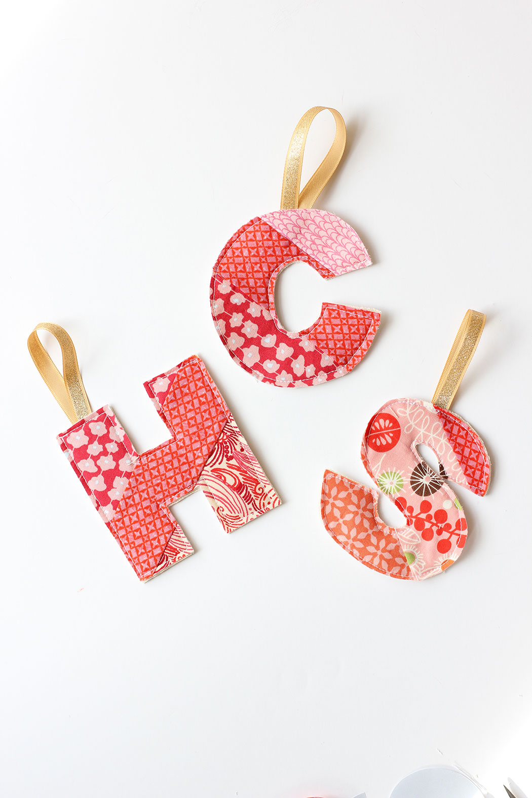 Fabric Monogram Ornaments