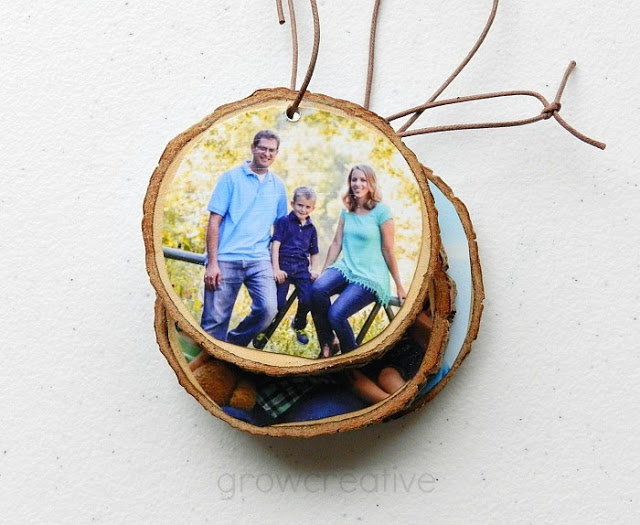 Wood Slice Photo Ornaments