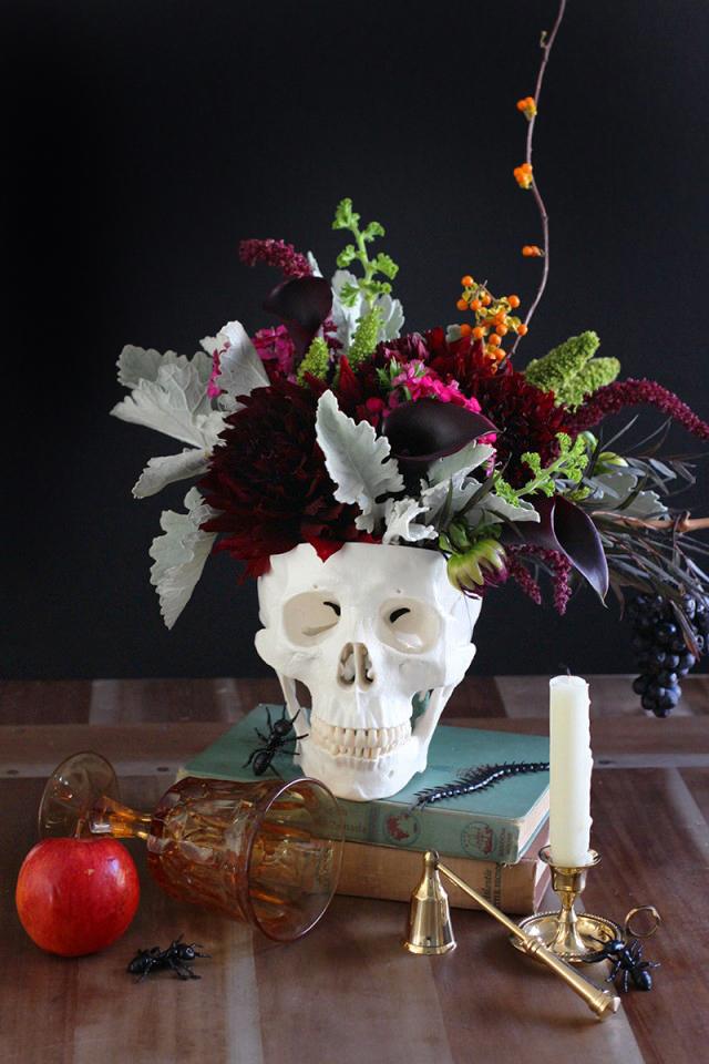 Floral Skull Centerpiece