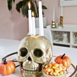 Gold Skull Candle Holder