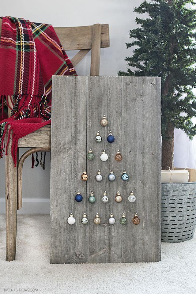 Simple and Rustic Shiplap Ornament Display