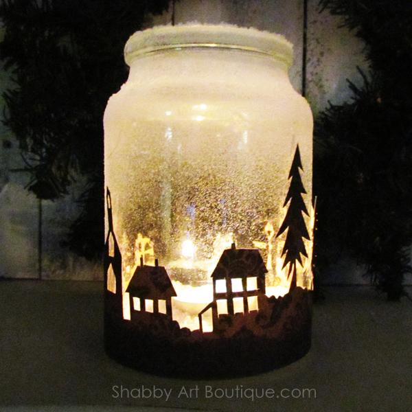 Chirstmas Township Candle Jar
