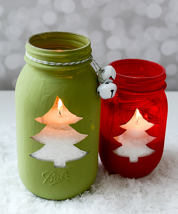 Christmas Tree Mason Jar Votive