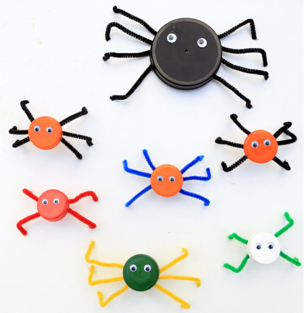 Colorful Bottle Cap Spiders