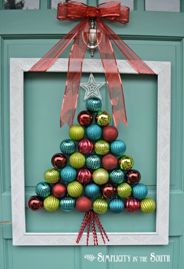 Framed Christmas Tree Ornament Wreath