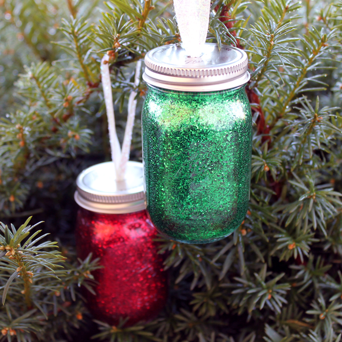 Glitter Mason Jar Ornaments