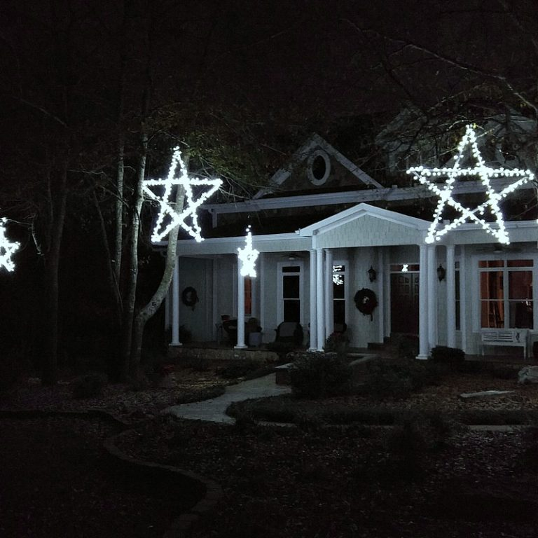 Outdoor Wooden Lighted Stars