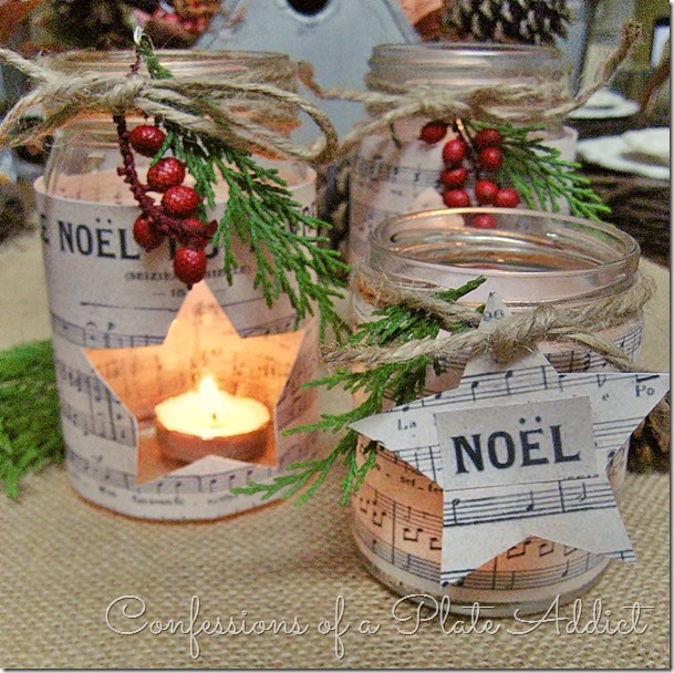 Sheet Music Christmas Candles