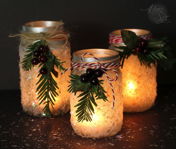 Snow Frosted Mason Jar Lanterns