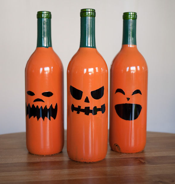 Glass Bottle Jack-o-Lanterns