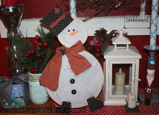 Wood Hoop Snowman