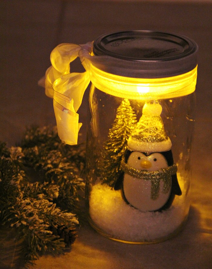 Illuminated Mason Jar Snow Globe