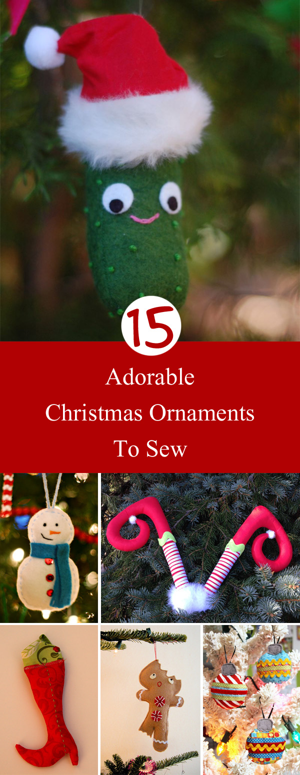 15 Adorable Christmas Ornaments to Sew