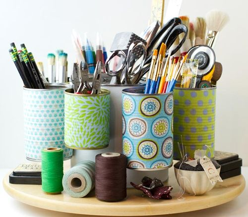 Craft Organizer Using Different Sized Cans