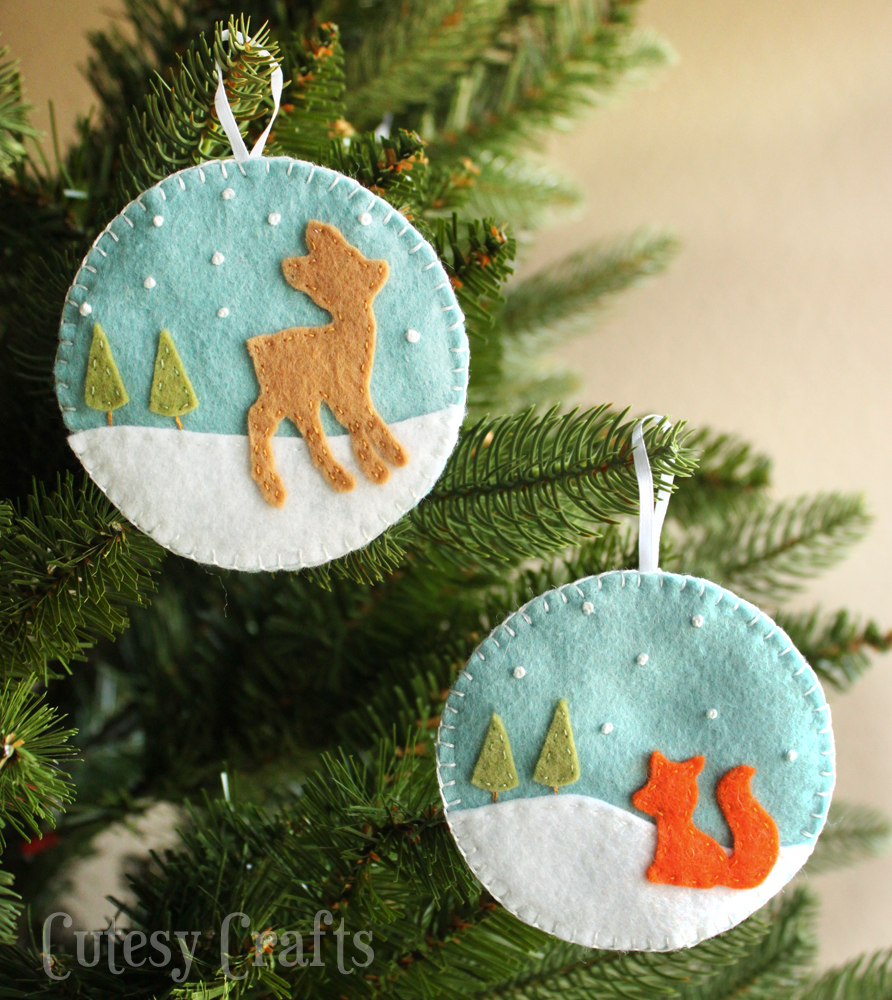 Deer and Fox Felt Christmas Ornaments