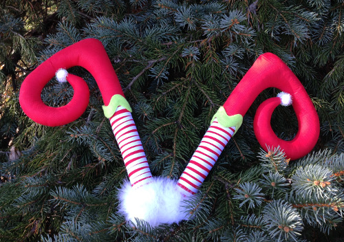 Diving Elf Legs Ornament