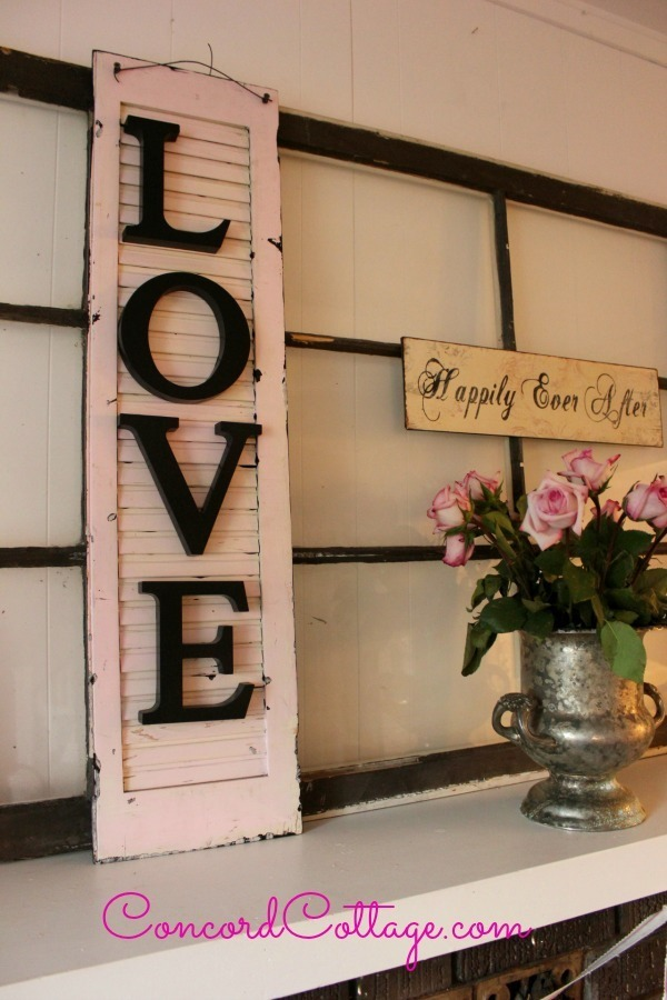 Recycled Shutter Wall Art with Letters
