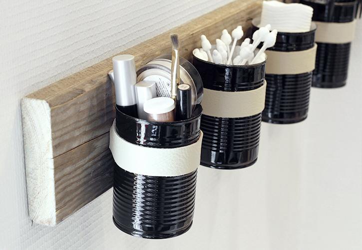 Tin Can Bathroom Storage