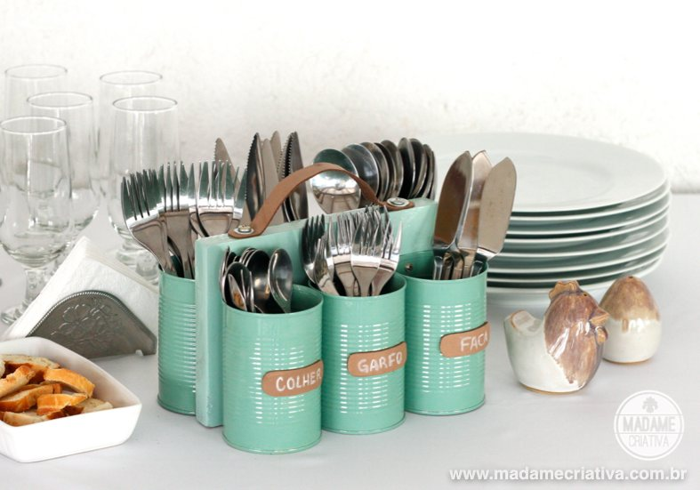 Tin Can Kitchen Cutlery Holder