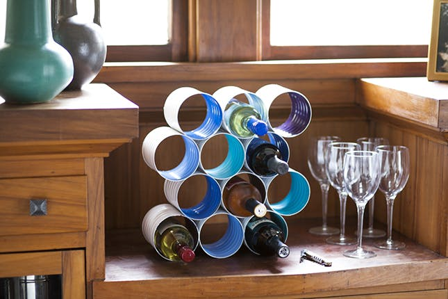 Wine Rack from Old Tin Cans