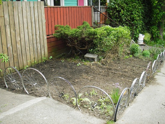 Bicycle Wheels Used As Garden Edging