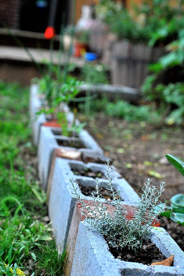 Cinder Blocks Garden Edging