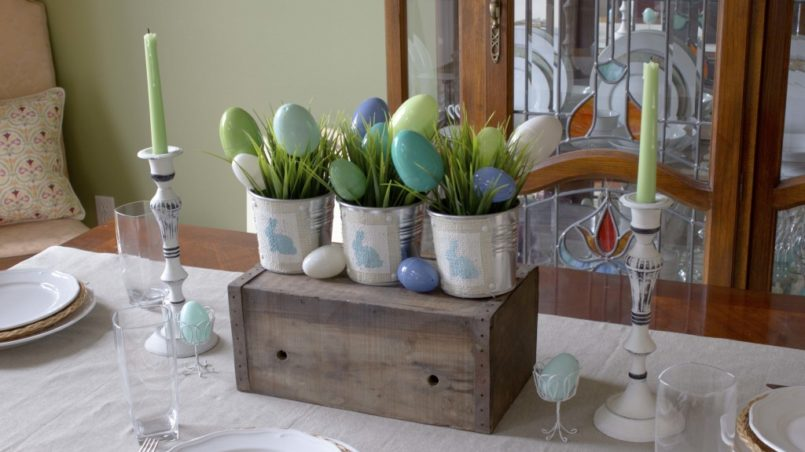 Bunnies and Burlap Easter Centerpiece
