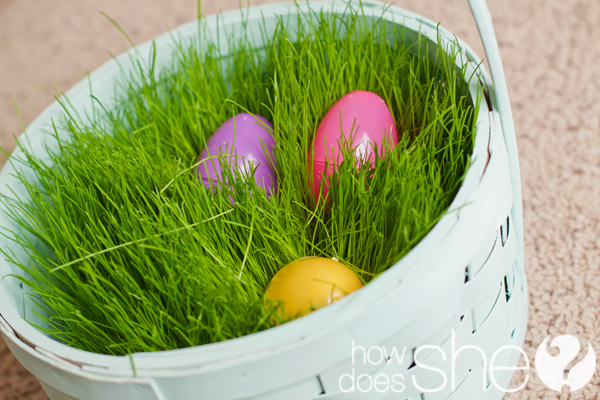 Easter Basket with Real Grass