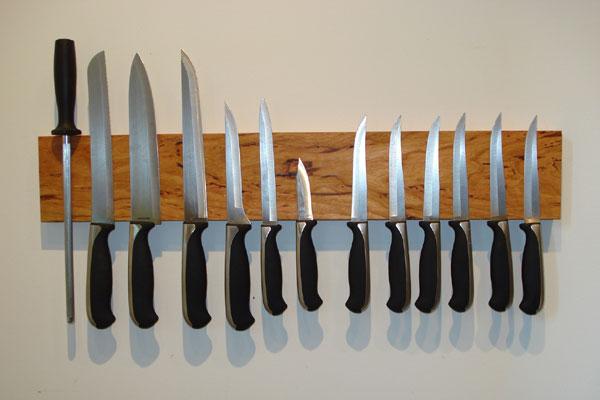 Magnetic Wooden Knife Holder
